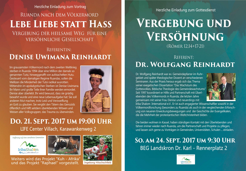 Einladung zu den Vorträgen von Denise Uwimana und Wolfgang Reinhardt